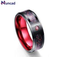 Trouwringen Nuncad Zwart 8mm Brede 3.0mm Dikke Tungsten Stalen ring met ingelegde rode koolstofvezel voor geschenkmaat 7-12