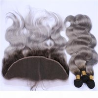 OMBRE Silver Grey Body Body Wave Human Hair Pointles con frontals 1b Ombre Grey Omre Virgin Weaves With Full 13x4 Encaje Cierre Frontal