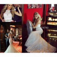 Modest Mermaid 2016 Wedding Dresses Full Lace O-Neck Crystal Custom 2017 Vintage Bridal Gowns Plus Size Arabic Vestidos De Noiva