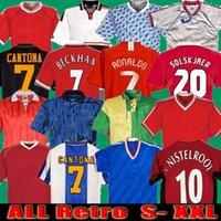 Retro 90 92 United Home Away Jerseys de futebol Manchester Scholes 06 07 08 94 96 97 98 99 86 88 Giggs Beckham Ronaldo Cantona Camisas de futebol