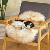 Cat Beds & Furniture Super Soft Pet Bed Winter Warm Sleeping Pad For Dogs Kennel Dog Round Long Plush Puppy Cushion Mat Portable Supplies