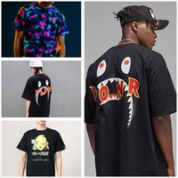 Apes Shark head mens t shirts high quality Tees men women in the same TShirts Multiple styles colors cotton luminous camouflage With label and tote bag Size M-3XL