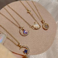Chains Huge Bud Moon Star Necklace For Women Gold Pendant Thin Chain Stainless Steel Collier Choker Fashion Jewerly Party Gift