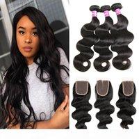 Högkvalitativ Grad 10a Brasiliansk Virgin Human Hair Body Wave 3 Bundlar med 4x4 Lace Closure Free Middle Three Part Natural Color Extensions