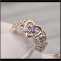 Jewelryluxury Female Square Zircon Rose Gold Color Heart Ring Fashion Bridal Wedding Party Jewelry Promise Engagement Rings For Women Drop De