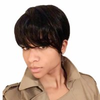 Short Pixie Cut Straight Bob Wigs With Bangs Full Machine lace front Human Hair Wig for Black Women