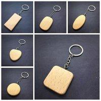 Персонализированные DIY пустые деревянные ключевые цепи прямоугольника Сердце круглый эллипс резьба ключевой кольцо дерева брелок кольцо подарки ремесло инструменты HWF6038