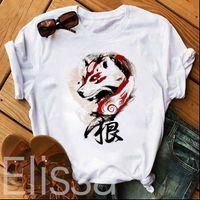 Prenses Mononoke Beyaz Baskılı Bayan T Shirt Karikatür Casual Kısa Kollu Moda Harajuku Tee Kadın Tops