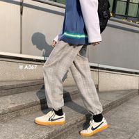 Прямые брюки для клетчатых брюк для мужчин 2021 весенние натяжные ноги Mens Harem Bags, повседневная мужская одежда Винтаж хип-хоп уличная одежда мужская