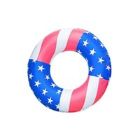 Life Vest & Buoy 31 Inch American Flag Inflatable Swimming Ring Donut Pool Float For Adult Kids Swim Mattress Rubber Toys