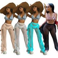 الصيف إمرأة السراويل شبكة مخرمة المد المرأة مثير الاستحمام بلون شاطئ ارتداء 4 ألوان شبكة منزعج السراويل الشاطئ