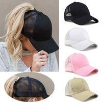 Visors Summer Women Cap Snapback Hat Messy Bun Mesh Hats Casual Unisex Adjustable Caps