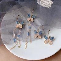 Boucles d'oreilles à longue chaîne à longue chaîne pour femmes CZ Zircon Boucle d'oreille géométrique Boucles d'oreilles de mariage Bohemian 3070 Q2