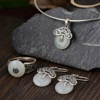 Cluster Rings 925 Sterling Silver Jade For Women Natural Gemstone Pendant Flower Design Vintage Style Jewelry