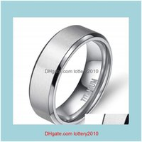 Cluster Jewelryjewelry Tigrade 8 6 4Mm Sier Color Mens Titanium Ring Brushed Man Wedding Band Engagement Rings Male Jewelry Couple Drop Deli