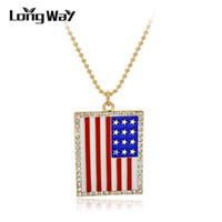 Langway Weinlese geschnitzt Retro Email US UK Flagge österreichische Kristall Anhänger Halskette Legierung Pullover Kette Lange Halsketten SNE150872103 Ketten