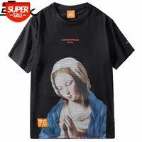 2020 Madonna T Shirt Hombres Hip Hop Funny T-Shirt Streetwear Tshirts Virgin Mary Vintage Print Tops Tops Tees Manga corta # L40J