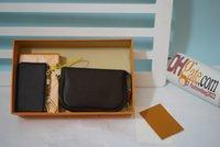 Çanta Tasarımcılar Lüks Yüksek Kalite L Billfold Cüzdan Paris Ekose Tarzı Tasarımcı Erkek Kadın Cep Lüks Cüzdan Çanta Kutusu ile Toplam 2 adet Pochette Aksesuarları