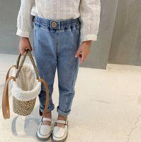 Autumn Girls Casual Jeans Kids Hebilla Cintura Elástica Lápiz Denim Pantalones Denim 2021 Moda Niños Soft Cowboy Pantalones Q0932