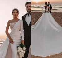 Luxury Satin Mermaid Wedding Dresses Saudi Arabic Bridal Gowns Sexy One Shoulder Sequins Backless Long Train Robe De Mariee