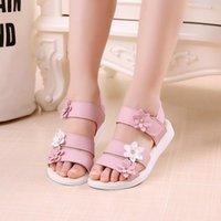 Princess Girls Sandals Gladiator Цветы сладкие мягкие детские пляжные туфли милые дети летние цветочные
