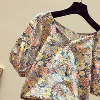 40 Vintage Floral Print Womens Blouses Square Collar Puff Sleeve Hooks Button Sexy Shirts Women Tops Summer Top