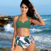 Print High Waist Bikini Push Up Swimwear Women Set Plus Size Swimsuit Female Green Retro Biquini Brazilian Bathing Suit Women's