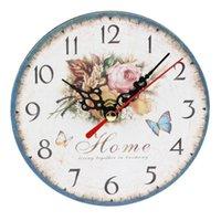 Практический художественный творческий европейский стиль круглый красочный деревенский декоративный античный деревянный домашний настенные часы часов