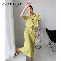 Два куска платье Haterart 2 обрезанные блейзер набор женщин зеленый костюм и юбка Летняя полная наряда корейской моды