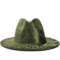 Semplici donne uomini oro velluto di velluto fedora cappello signore elegante signora inverno autunno ampio brim jazz chiesa Panama Sombrero Cap 56-58 cm