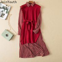 Casual Dresses Joinyouth Women Dress 2021 Autumn Clothing Office Lady Knitted Vest Suit Vestidos Lace Up Slim Waist Silk Pleated