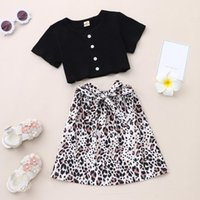 Clothing Sets Children Girls Toddler Baby Kids Tops Short Sleeve Bow Leopard Print Skirt Clothes Summer 2021 Outfits