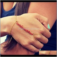 Link, Bracelets Jewelry1Pc 30Cm Fashion Bracelet Punk Women Metal Hand Harness Chain Beads Slave Finger Ring Drop Delivery 2021 Tee69