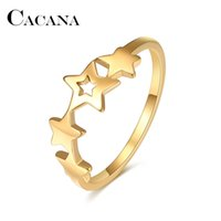 Women Gold Band Ring Pentagram Star Connection For Female Bohemian Wedding Party Gifts Chain Stainless Steel Jewelry