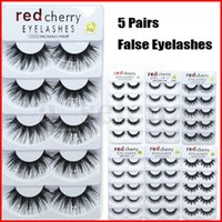 5 paires de mignon de cerise rouge cils Noir Naturel Épais de faux cils de faux cils 100% cruauté sans cruauté Réutilisable Extension des yeux Outils de maquillage