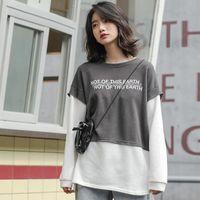 Women's Hoodies & Sweatshirts Autumn Fashion Splicing Women Design All Match Letter Korean Casual Print Students Clothes 2021