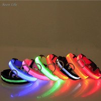 Dog Collars & Leashes S-XL Safety Pet Collar For Lighted Up Nylon Solid LED Glow Necklace Household Outdoor Playing At Night