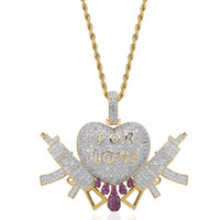 18K Gold Plated Necklace Pendant Jewelry Luxury Men Women Rappers Street Fashion Bling Zircon Copper Love Heart Guns Hip Hop Necklaces
