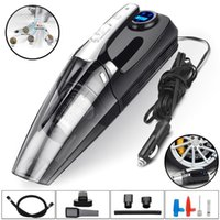 Vacuum Cleaner 4 In 1 Auto Air Compressor Pump Car Digital Tire Inflator Dual Filters With Emergency LED Light 12V 120W