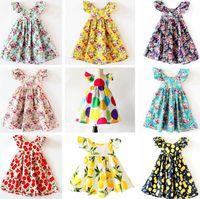 INS Cherry lemon Cotton Backless DRESS girls floral beach dress cute baby summer backless halter kids vintage flower es 12colors