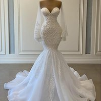 2021 우아한 백색 인어 웨딩 드레스 신부 가운 비즈 레이스 Applique 나이지리아 아랍어 결혼 복장 복장 가운 드 마리