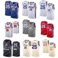 كرة السلة الفانيلة 2021 Irving 11 Simmons 21 Joel Kyrie Embiid 7 كيفن 25 بن دورانت 76 جيرسي رجال NCAA CITY