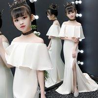 Weiße Meerjungfrau Blumenmädchen Kleid Für Hochzeit Schultertüre Spitze Appliqued Little Girls Kleider Party Erster Heiliger Kommunion Kleid 2021