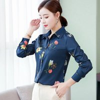 Women Spring Autumn Style Chiffon Blouses Shirts Lady Casual Turn-down Collar Flower Printed Long Sleeve Blusas Tops DF3839 Women's &