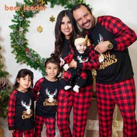 Bear Leader Christmas Father Mother Kids Clothes Top+Pants Family Matching Outfit Lattice Xmas Sleepwear Pj's Set Baby Romper 105