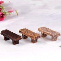 3 unids Lindo silla de madera heces jardín de hadas miniaturas decoración pareja banco acción figurilla diy micro gnomo terrario regalo DHD7349