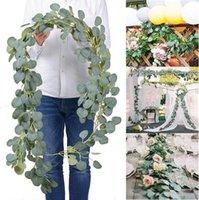 Dense Leaf Artificial Eucalyptus Garland Leaves Decorative Flowers Handmade Silk Flower Vines Greenery Party Wedding Backdrop Arch Wall Decoration