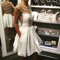 Bling Short Homecoming Dress with Pockets New Coming Crystal Pearl A Line Custom Made Cap Sleeve See Through Satin Party Gowns Fashion