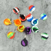 Nonstick Wax Containers Silicone Box Smoking Accessories 6ml SiliconJars Dab Tool Stash Storage Oil Rigs Rubber Holder With Keychain
