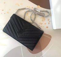 Frau Tasche Echtes Leder Hohe QualitätCaviar Lammfell Frauen Messenger Bags Handtasche Original Box